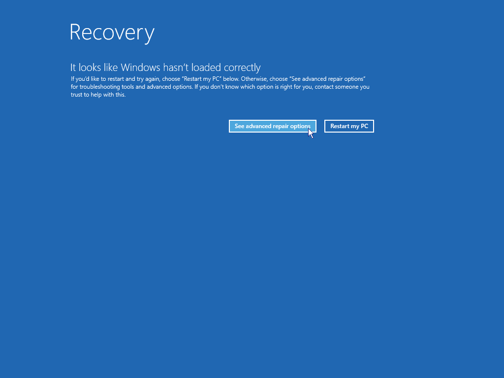 Start Windows in safe mode: Recovery screen