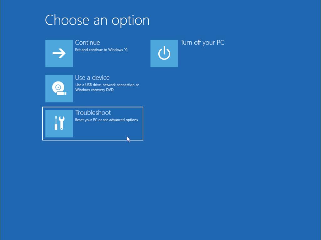 Start Windows in safe mode: Choose option