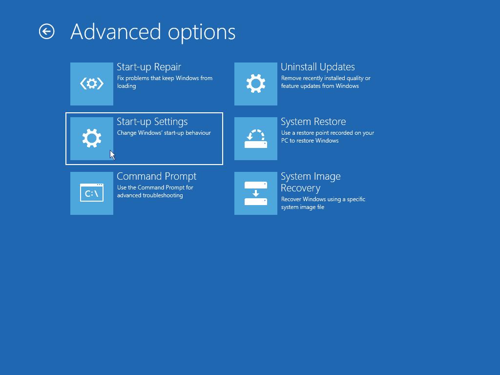 Start Windows in safe mode: Advanced options