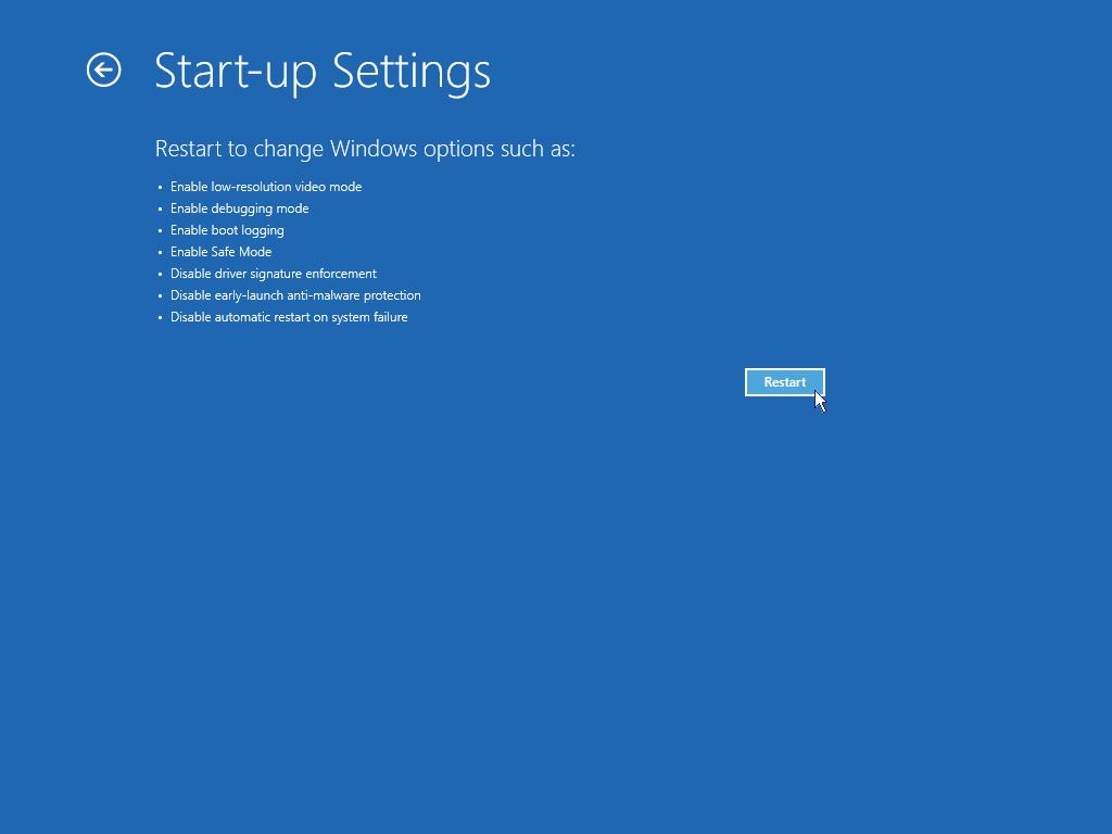 Start Windows in safe mode: Start up settings