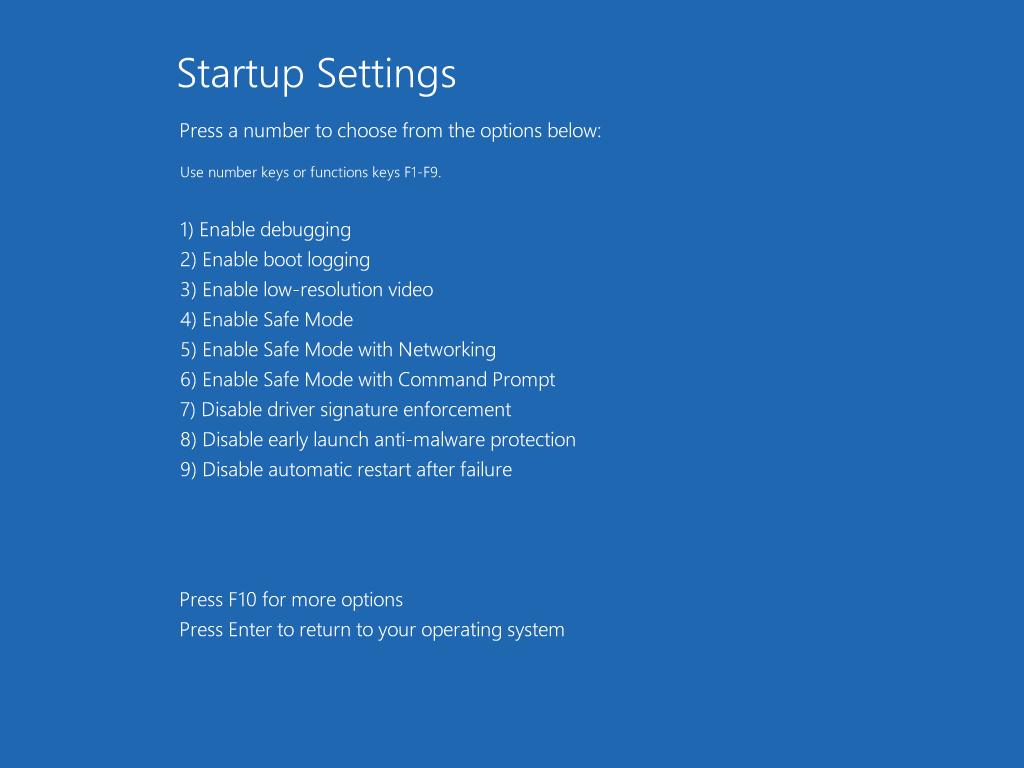 Start up settings menu