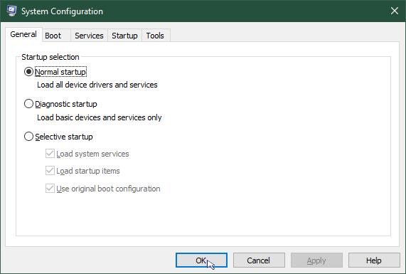 Start Windows in safe mode: System configuration normal