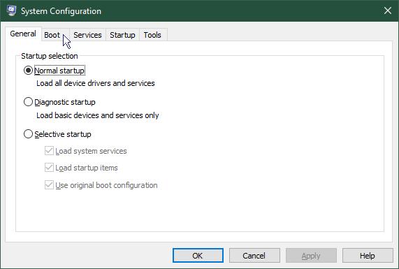 Start Windows in safe mode: System configuration