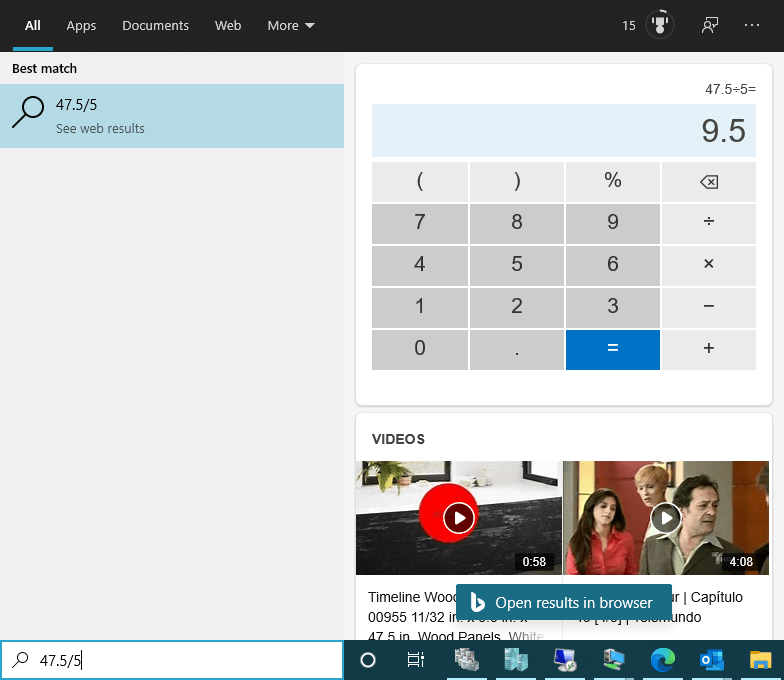 Calculator from search
