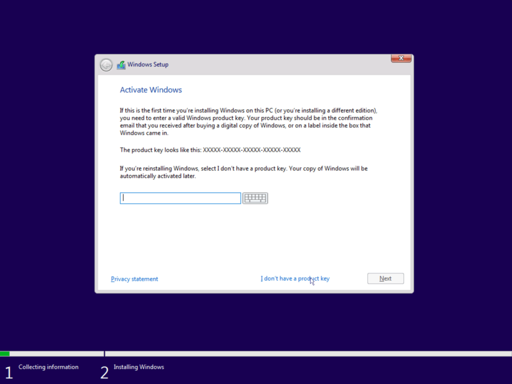 How to install Windows 10 step 3