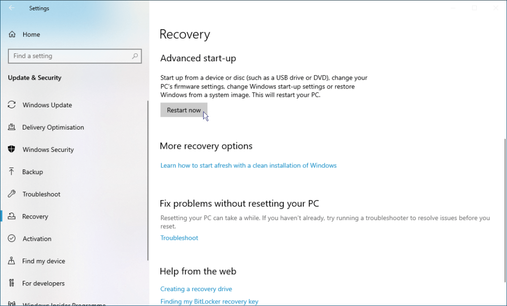 How to install Windows 10 - Restart from USB 3